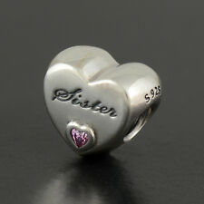 Authentic Genuine Pandora Sterling Silver Sister's Love Charm - 791946PCZ