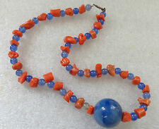 fine old natural branch coral bead blue glass bead necklace