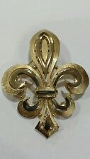 Vintage CROWN TRIFARI Gold Tone Fleur De Lis brooch pin signed costume jewelry