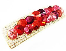 HAIR PIN Clip Crystal Swarovski Element Cubic Zirconia Barrette pink Rectangle