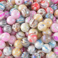 300PCS Wholesale  Acrylic Spacer Beads AB Color Stripe Pattern Round Mixed 8mm