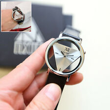 Mens Womens Unique Hollowed-out Triangular Dial Black Fashion Watch POP