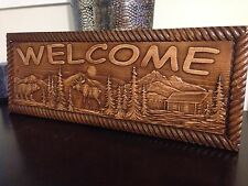 "8 1/2"" x 22"" x 3/4"" Wood Carved Welcome Sign With Bear, Moose, Trees and a Cabin"
