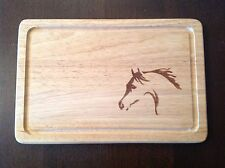 HORSE HEAD ENGRAVED WOODEN CHOPPING BOARD PONY PONIES HORSES GIFT PERSONALISED