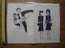 DESSINS ORIGINAUX Ginette et maman a la messe Ginette et X Ginette dansant