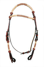 Western Rolled Set Of Rawhide Braided Head Stall/Reins And Breast Collar