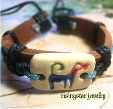 "Handmade ""My Forever Loyal Friend Dog"" Fashion Surfer Leather Bracelet Wristband"