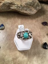 Kingman Turquoise & Sterling Silver Navajo Men's Ring Size 15.5