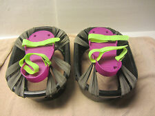Pair of Big Time Moon Shoes Purple and Green Bouncy Trampoline Style vintage