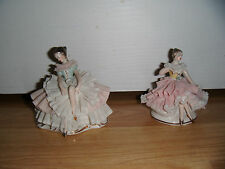 "Pair of Dresden Lace Porcelain 3.5"" Figures ~ Germany ~ Gorgeous"