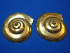 2 LOT BRASS Snail Shell Large Hollywood Regency Wall Hangings Decor Plaques Pair