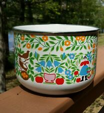 Kobe Kitchen Japan Enamel Bowl Kaj Franck Style Colorful Spring Pattern