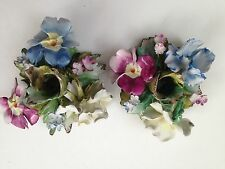 Pair Vintage CAPODIMONTE Candlestick Candle Holder Flower Porcelain Italy Marked