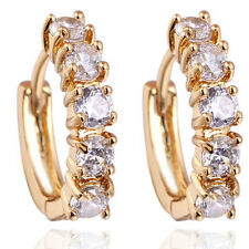 18 k Gold Plated Earrings for Small Girls or Women White Zircons Hoops  E720