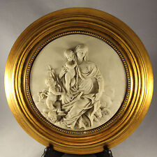 "Religious Cherub Relief Picture In Circular Gilt Frame 11.5""  Weighs 1.5Kg"