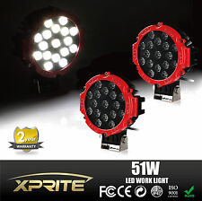 "2 pack 7"" 51W Red Spot LED Light Offroad Round Work Lamp For Truck 4WD 4X4 UTV"