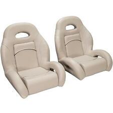 (Pair) Bass Boat Bucket Seats in Tan, with Black Accent