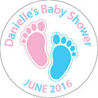 Personalised Stickers Baby Shower labels seals pink blue footprints 24 x 45mm