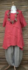 LAGENLOOK BEAUTIFUL LINEN APPLIQUE A-LINE SUMMER LONG TUNIC**RED**BUST UP TO 46""