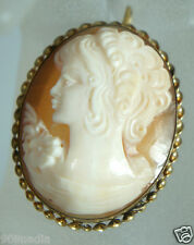 VINTAGE VICTORIAN GOLD FILLED BROOCH/PENDANT CAMEO SHELL TWISTED OVAL FRAME