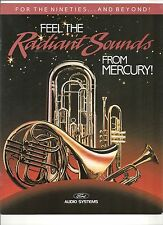 "1990 MERCURY RADIANT SOUNDS AUDIO SYSTEMS BROCHURE ""NOS"" GRAND MARQUIS COUGAR"