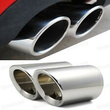 2 x Silver Tailpipe Trims Exhaust Muffler Tail Pipe Tip for Audi A4 B8 2009-2014