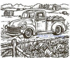 Autumn Fall Truck Farm Scene Wood Mounted Rubber Stamp NORTHWOODS P9610 New
