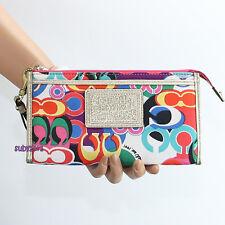 NWT Coach Daisy Poppy Pop C Signature Zippy Wristlet Clutch Wallet F48142 NEW