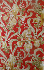 Antique French Art Nouveau Iris Floral Scroll Cotton Fabric ~ Red Mustard Olive