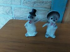 VINTAGE PENGUIN SALT & PEPPER SHAKERS W/ CORK STOPPERS.  JAPAN