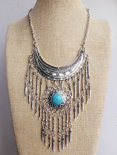 Silver Turquoise Tibetan Indian Vintage Style Bohemian Lagenlook Tassel Necklace