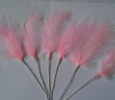 6 light Pink marabou feathers sprays on wire for decorating cakes,floral crafts