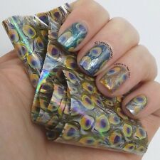 1Pc Holographic Nail Art Foils Wraps Blue Feather Peacock Transfer Sticker Paper