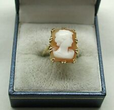 Very Nice 9ct Gold And Large Carved Cameo Ring