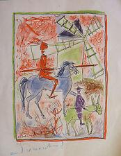 André MARCHAND (1907-97) Gravure Polychrome Signée Don Quichotte & Sancho Panza