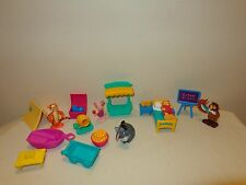 Disney POOH PVC FIGURES & FURNITURE LOT Eeyore Owl Tigger Piglet, camping, bed