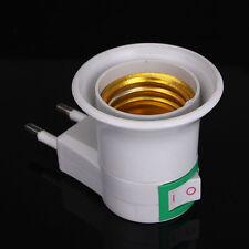 E27 Mâle Douille Socket Culot à EU Prise Plug Secteur ON/OFF Ampoule Edison LED