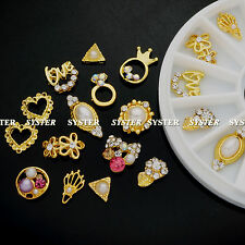 14 Pcs 3D Nail Art GOLD Decoration Alloy/Pearl Jewelry Rhinestone+Wheel #SB-108