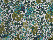 "LIBERTY OF LONDON TANA LAWN FABRIC DESIGN ""Edna"" 2.4 METRES TURQUOISE/LIME"