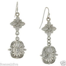 1928 (TM) VICTORIAN DECO STYLE EARRINGS! NEW! FREE SHIP! FILIGREE SILVER LOOK!