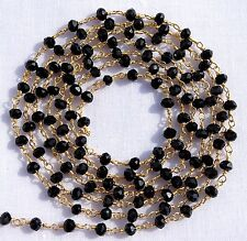 50 Feet Black Onyx Hydro 24k Gold Plated Wire Wrapped Beaded Rosary Link Chain.