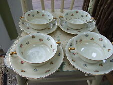 FOUR Rosenthal/Continental ROB ROY Cream Soup & Saucer Sets MINT!