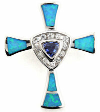 Tanzanite & Blue Fire Opal  925 Sterling Silver Cross Pendant Necklace