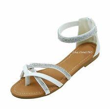 Women Jewel Sparkling Wedding Bridal Evening Thong Ankle Strap Sandals Gladiator