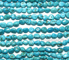 "7.5"" SLEEPING BEAUTY TURQUOISE 8mm Nugget Beads /n91"