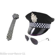 Da Uomo Cappello Poliziotto TIE & AVIATOR Occhiali polizia set uomo COP FANCY DRESS Stag Do