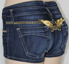 100% AUTHENTIC NEW WOMEN ROBIN'S JEAN SHORTS STUD GOLD EMBROIDERY SZ 27IN