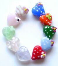 10 'QUEEN OF HEARTS' 20MM LAMPWORK GLASS HANDMADE STATEMENT BEADS