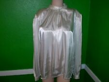 IMPRESSIONS LIQUID GLOSSY SATIN WET LOOK SHINY SHIRT TOP DRESS SUIT BLOUSE M 10