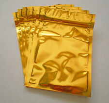 50 Gold (4x5) Aluminum/Foil Pouches Mylar Ziplock Bags, Food Safe, Smell Proof
